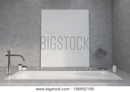 Concrete Bathroom, Tub And Poster