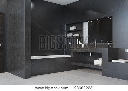 Black Bathroom, Tub, Sink And Mirror Corner