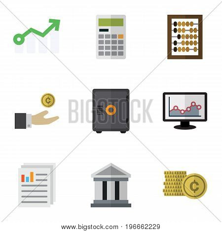 Flat Icon Incoming Set Of Document, Strongbox, Bank And Other Vector Objects