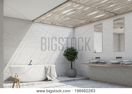 Brick Bathroom Interior With A Tree, Corner