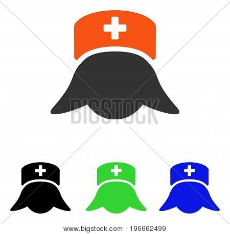 Hospital Nurse Head vector pictograph. Illustration style is a flat iconic colored symbol with different color versions.