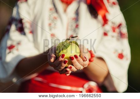A Girl In An Embroidery Is Holding An Apple In Her Hands