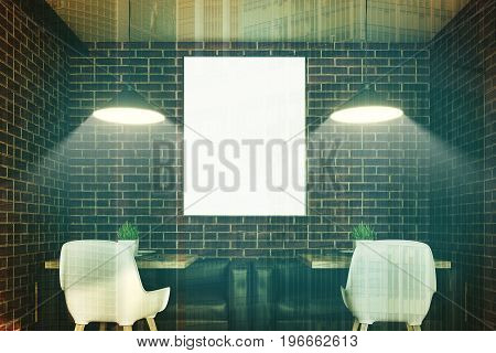 Close up of a cafe interior with brick walls a vertical poster hanging above square wooden tables with leather sofas and white chairs standing near them. 3d rendering mock up toned image double exposure