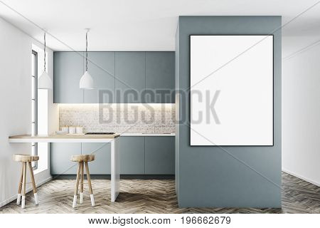 Gray kitchen interior with a bar like table two stools near it and a row of countertops. A framed vertical poster on a wall. 3d rendering mock up