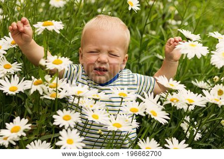 Discontented toddler in the chamomile lawn frowns and pulls his hands up