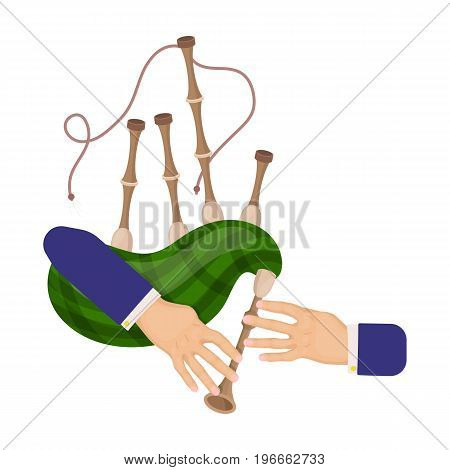 Playing the Scottish national bagpipe instrument. Bagpipe Wind Instruments single icon in cartoon style vector symbol stock illustration .