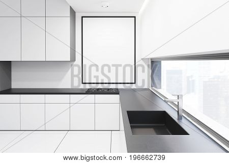 Gray and white kitchen interior with a row of countertops and a sink. A framed vertical poster on a wall. 3d rendering mock up
