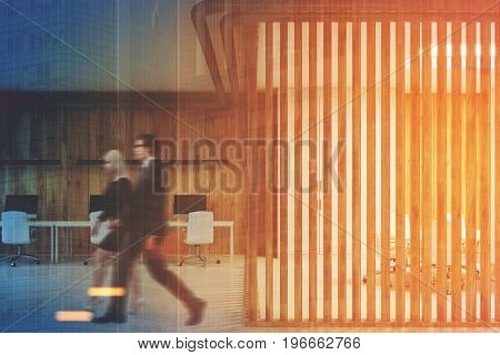 Wooden open office interior with a conference room behind a glass wall with blinds on it. People. 3d rendering mock up toned image double exposure