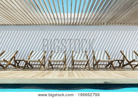 White deck chairs near an outdoors swimming pool with a ceiling made of white wooden planks. Concept of rest. 3d rendering mock up