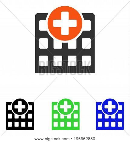 Hospital vector pictogram. Illustration style is a flat iconic colored symbol with different color versions.