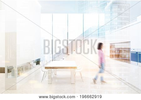 White kitchen interior with a staircase panoramic windows a long wooden table with white chairs a wall with a built in book shelf and countertops. 3d rendering mock up toned image double exposure