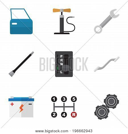 Flat Icon Workshop Set Of Accumulator, Carrying, Automobile Part And Other Vector Objects