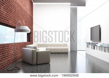 Brick Living Room, A Sofa, A Tv Set And A Poster