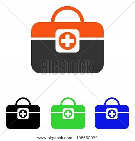 Medic Case vector pictogram. Illustration style is a flat iconic colored symbol with different color versions.