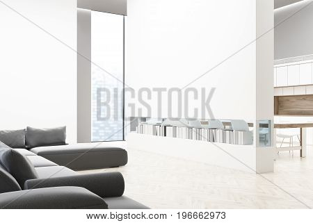 Gray Sofa Living Room With A Table Close Up
