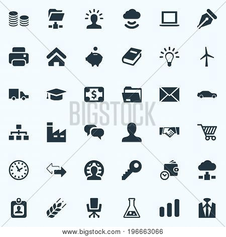 Elements Relationship, House Location, Partnership And Other Synonyms Firm, Envelope And Dollar.  Vector Illustration Set Of Simple Business Icons.