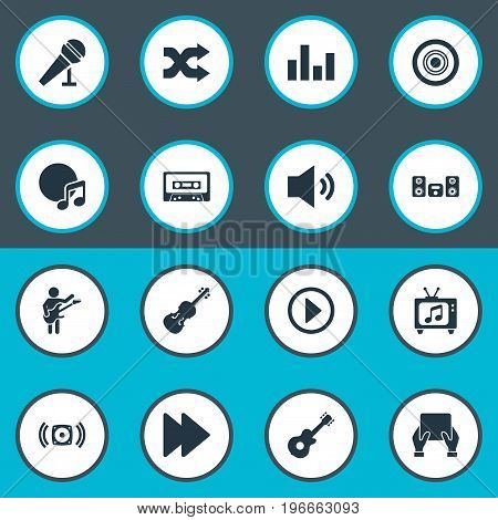 Elements Amplifier, Stabilizer, Tablet And Other Synonyms Amplifier, Sound And Tape.  Vector Illustration Set Of Simple  Icons.