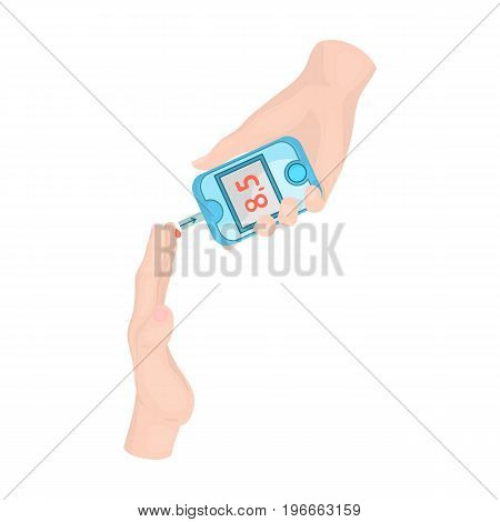 Measuring the level of sugar in the blood of a person with a Glucometer. Medicine single icon in cartoon style vector symbol stock illustration .
