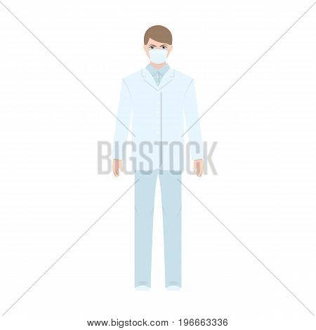 The man is a doctor in uniform and a protective mask. The medicine single icon in cartoon style vector symbol stock illustration .