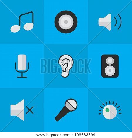 Elements Volume, Regulator, Listen And Other Synonyms Regulator, Record And Sound.  Vector Illustration Set Of Simple Sound Icons.