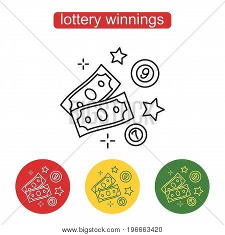The money icon. The concept of a lottery prize. Stack of dollars, stars and raffle items. Symbol monetary gain in a linear style. Editable stroke.