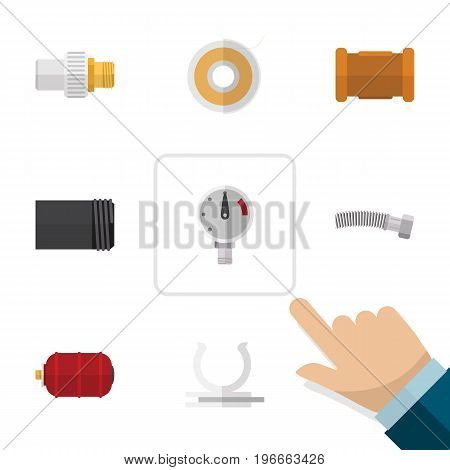 Flat Icon Industry Set Of Industry, Conduit, Pressure And Other Vector Objects