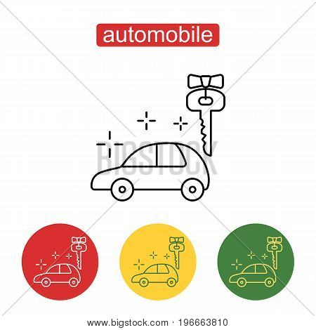 Car prize icon in thin outline style. Abstract sign of automobile for sale. Business automotive gift present. Outline illustration for web design, mobile application. Editable stroke.