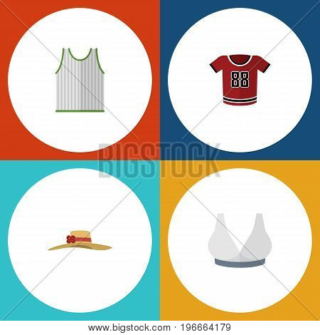 Flat Icon Dress Set Of Elegant Headgear, Singlet, T-Shirt And Other Vector Objects