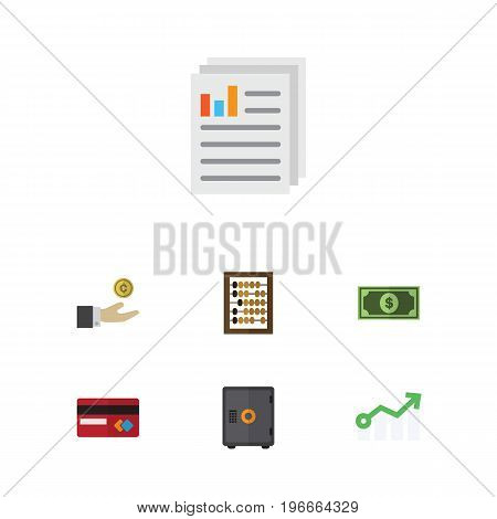 Flat Icon Incoming Set Of Hand With Coin, Greenback, Growth Vector Objects