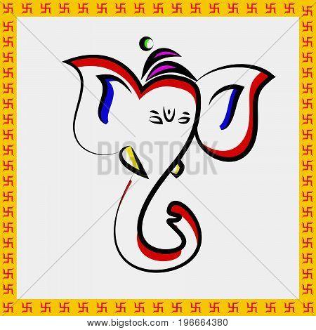 illustration of face of Hindu God Ganesh on the occasion of Hindu Festival Ganesh Chaturthi
