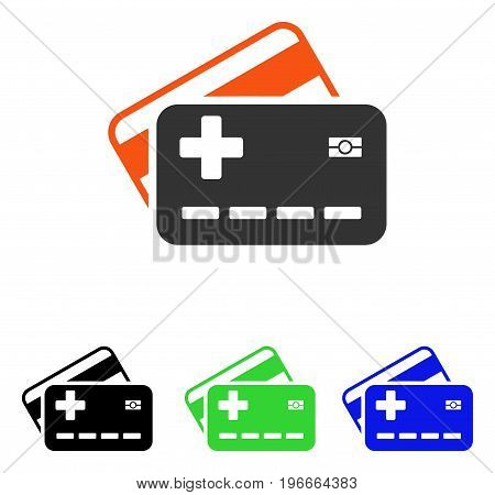 Medical Insurance Cards vector icon. Illustration style is a flat iconic colored symbol with different color versions.