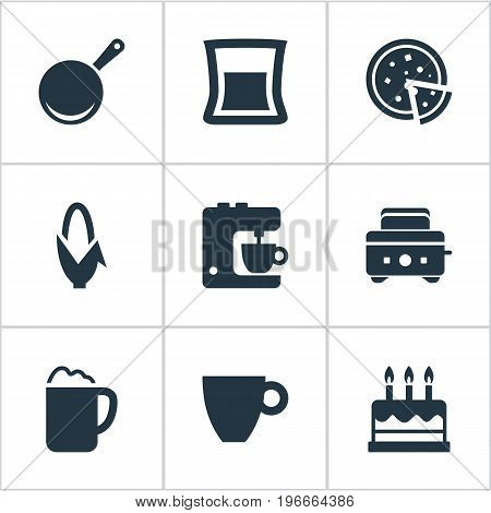 Elements Skillet, Cup, Roasted Bread And Other Synonyms Pizza, Pizzeria And Candles.  Vector Illustration Set Of Simple Kitchen Icons.