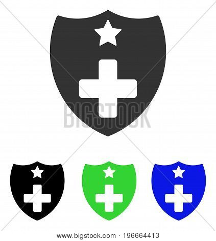 Medical Insurance Shield vector pictograph. Illustration style is a flat iconic colored symbol with different color versions.