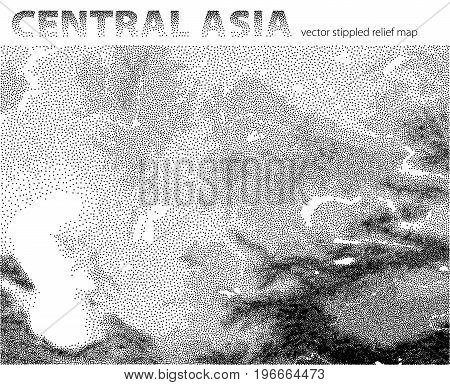 Vector stippled relief map of Central Asia