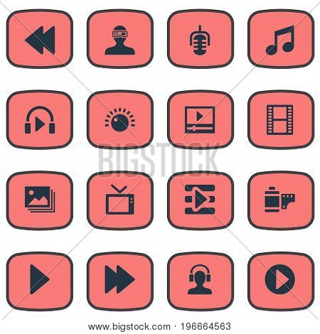 Elements 3D Glasses, Meloman, Shine And Other Synonyms Television, Microphone And Start.  Vector Illustration Set Of Simple Multimedia Icons.