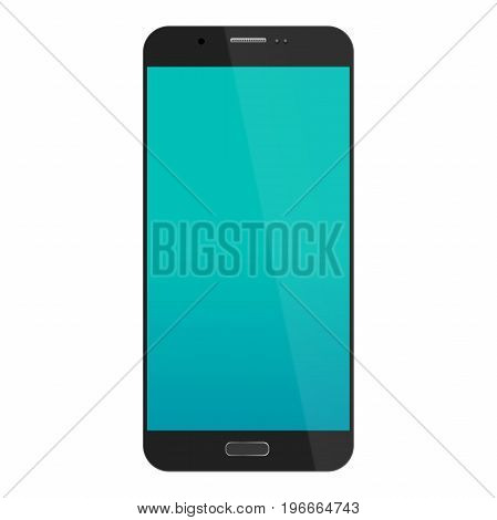 smartphone in iphone style black color with blank touch screen isolated on white background. vector illustration.