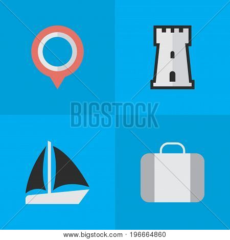 Elements Bag, Schooner, Mark And Other Synonyms Schooner, Location And Castle.  Vector Illustration Set Of Simple Travel Icons.