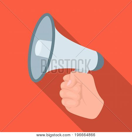 Speaker for voice enhancement. Megaphone in hand single icon in flat style vector symbol stock illustration .