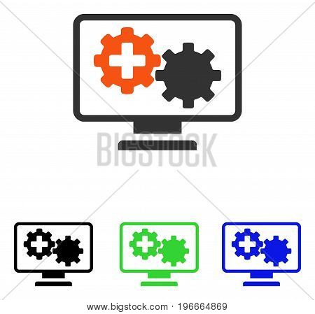 Medical Process Gears Monitoring vector icon. Illustration style is a flat iconic colored symbol with different color versions.