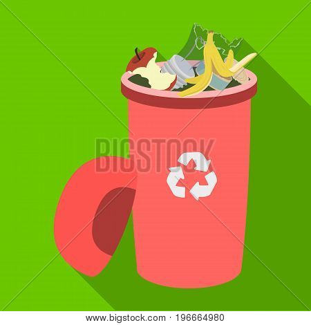 A full garbage can with waste. Rubbish and Ecology single icon in flat style vector symbol stock illustration ,