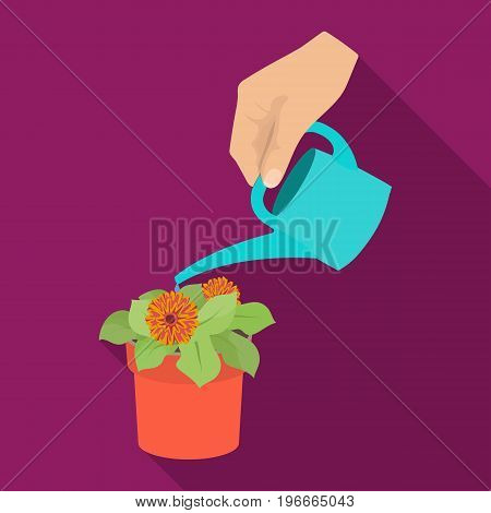 Watering the houseplant in a pot. Home Flower single icon in flat style vector symbol stock illustration .