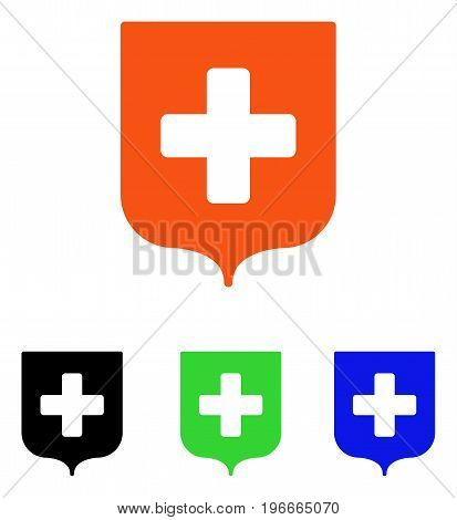 Medical Shield vector icon. Illustration style is a flat iconic colored symbol with different color versions.