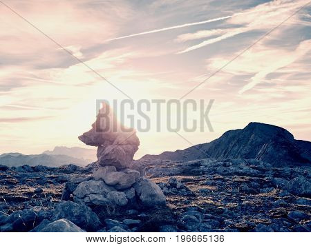 Stacked Sharp Stones At Trail. Heavy White  Pebbles Stack On Rocky Ground Of Mountain