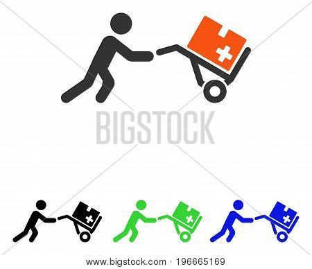 Medical Shopping Cart vector pictogram. Illustration style is a flat iconic colored symbol with different color versions.