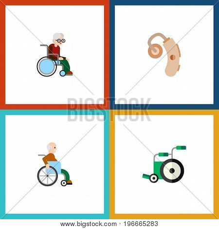 Flat Icon Handicapped Set Of Handicapped Man, Audiology, Wheelchair Vector Objects
