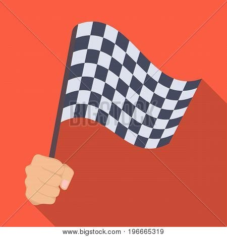 A racing, starting and finishing fluttering flag in his hand. Checkered flag single icon in flat style vector symbol stock illustration .