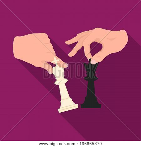 Hands holding chess pieces. Chess single icon in flat style vector symbol stock illustration .