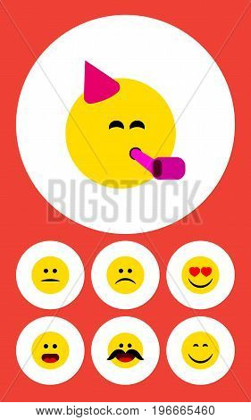 Flat Icon Gesture Set Of Cheerful, Sad, Party Time Emoticon And Other Vector Objects