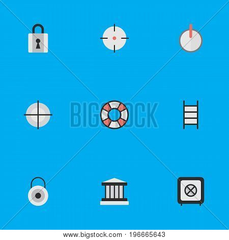 Elements Closed, Stairs, Lock And Other Synonyms Lock, Grille And Target.  Vector Illustration Set Of Simple Crime Icons.