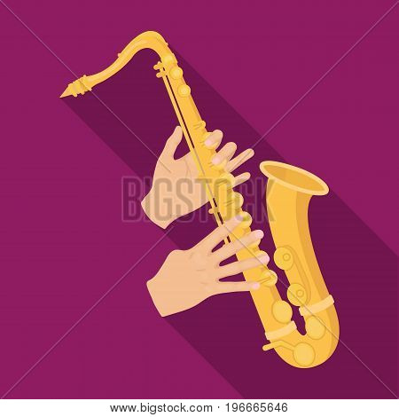The saxophonist plays the saxophone. Golden saxophone single icon in flat style vector symbol stock illustration .